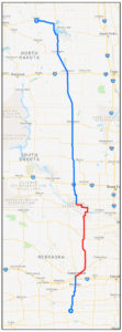 Map image of the Smackdab route, showing the detour in Nebraska in red.